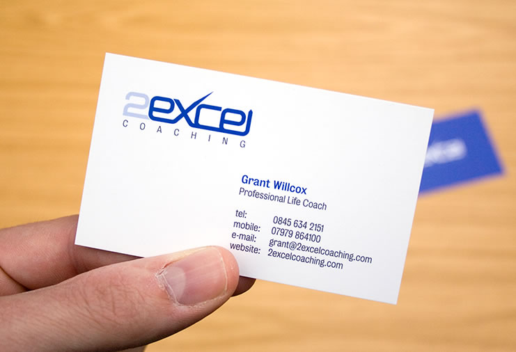 Front business card design for 2Excel Coaching