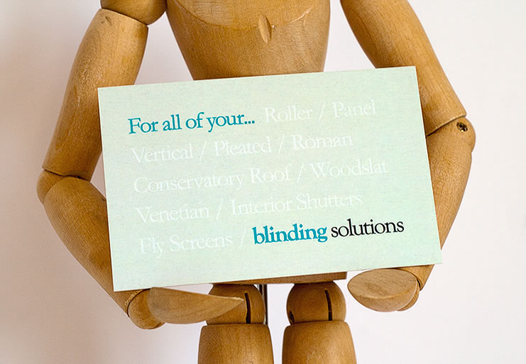 Rear business card design for Blinding Solutions