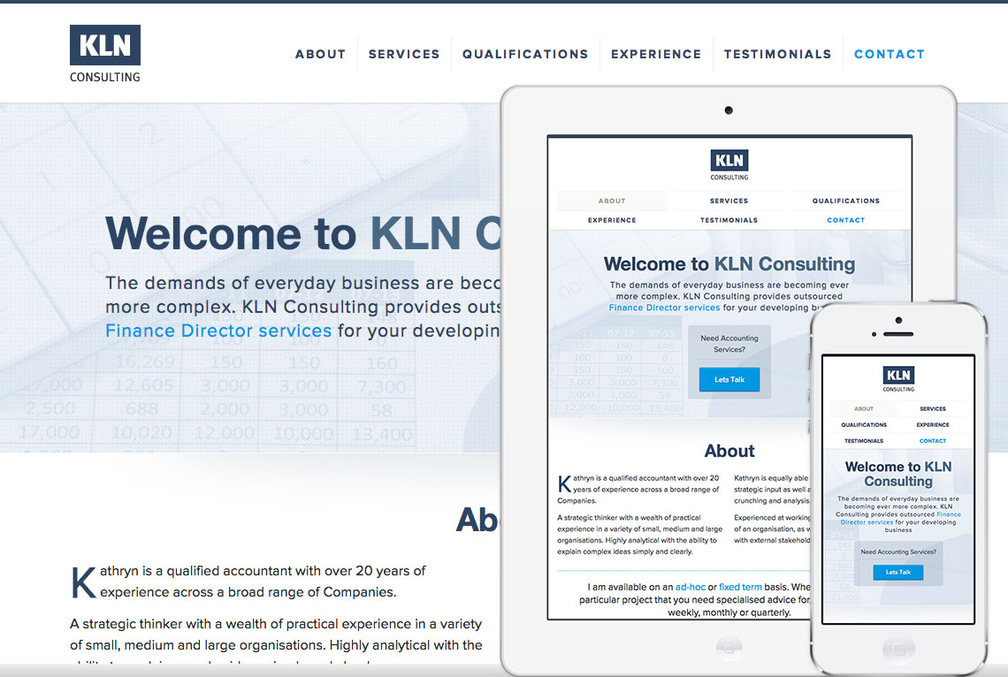 Custom one page responsive web design - KLN Consulting