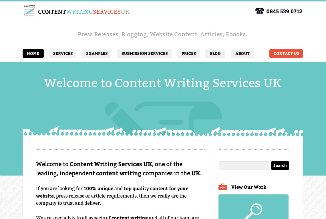 Content Writing Services UK - Home page web design