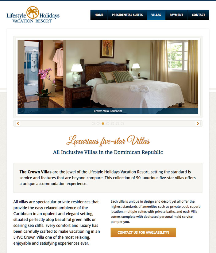Villa web page - Dominican Accommodation Bespoke WordPress website