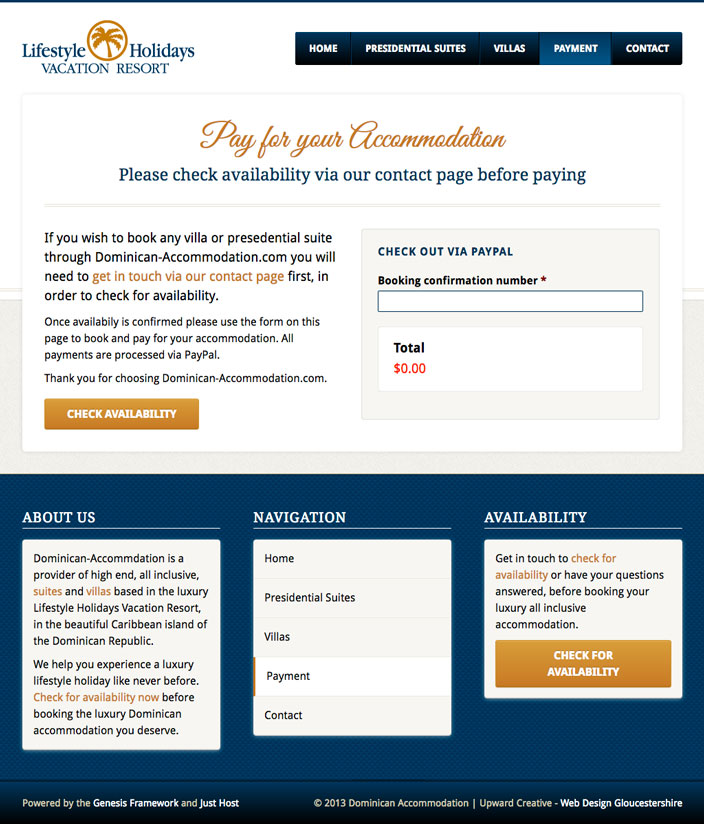 Paypal ecommerce payment web page - Dominican Accommodation