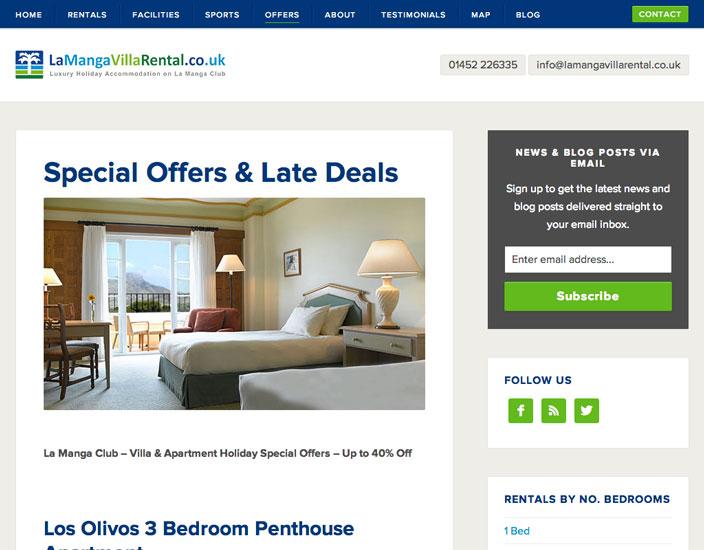 Offers page - La Manga Villa Rental Bespoke WordPress website design