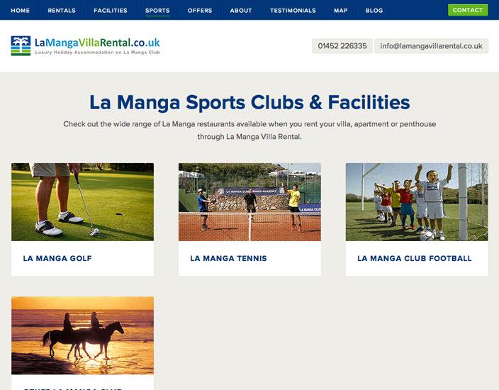 Sports page - La Manga Villa Rental Bespoke WordPress web design