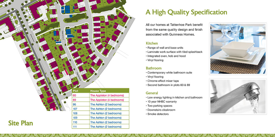 Brochure design site plan - Tattenhoe Park