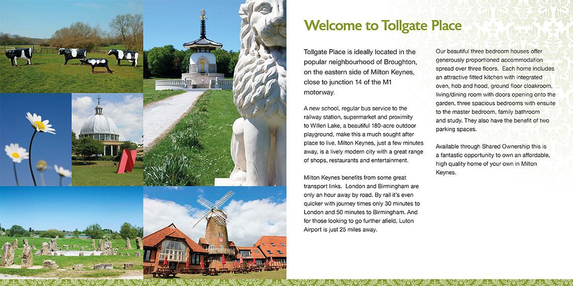Brochure design spread - Tollgate Place