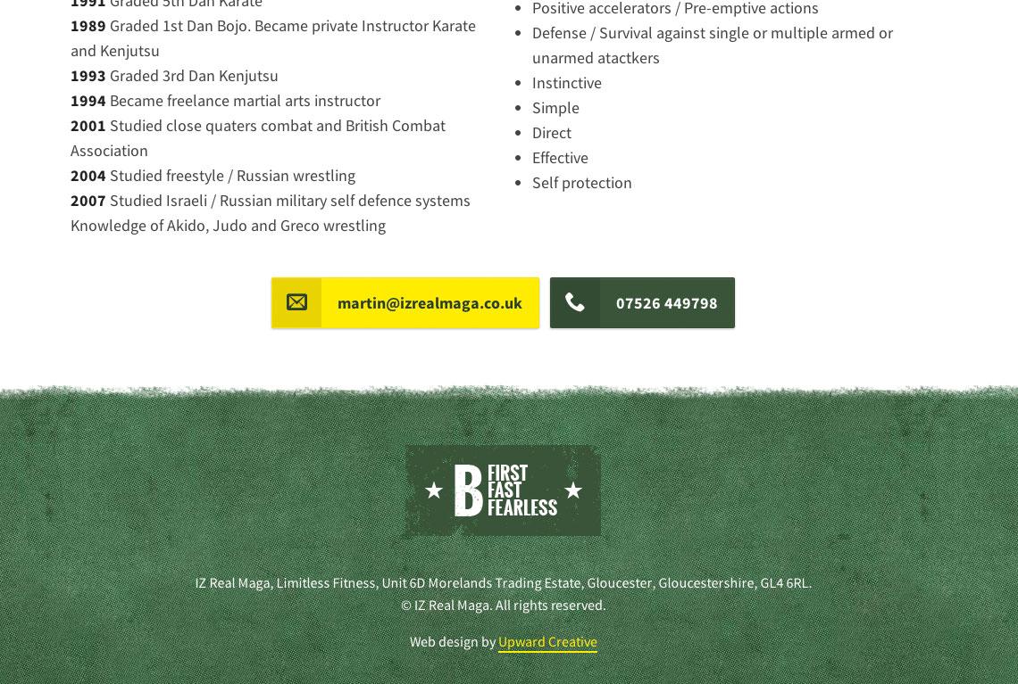 Responsive one page web design bottom - IZ Real Maga