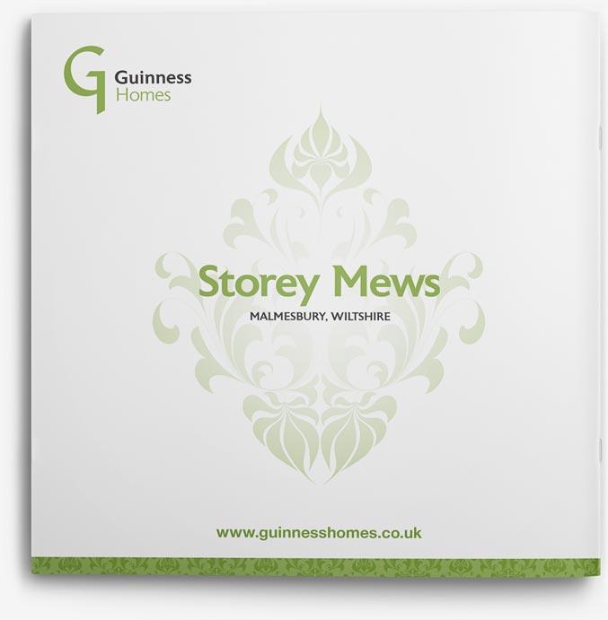 Brochure design back for Guinness Homes Storey Mews