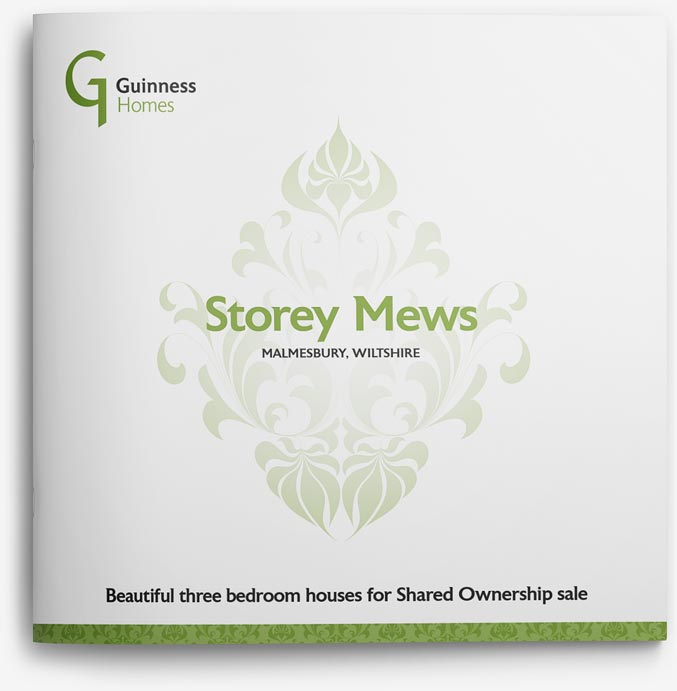 Brochure design front for Guinness Homes Storey Mews