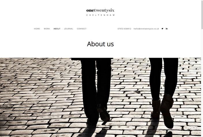 One Twenty Six website about page