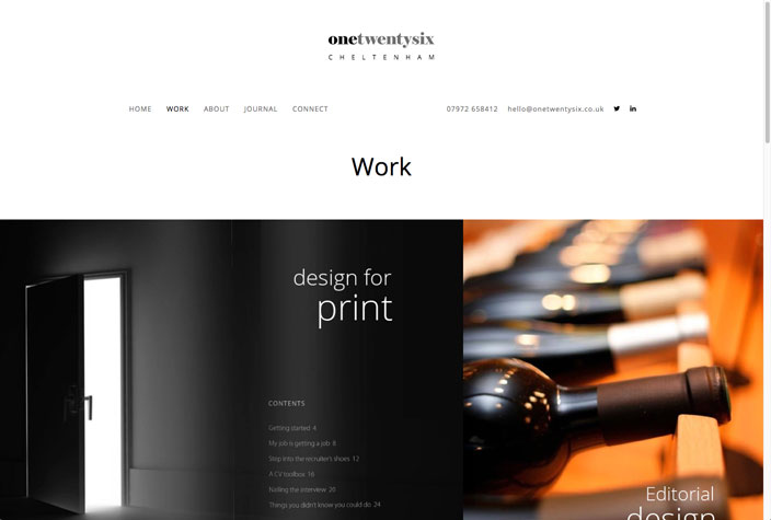 One Twenty Six website work page