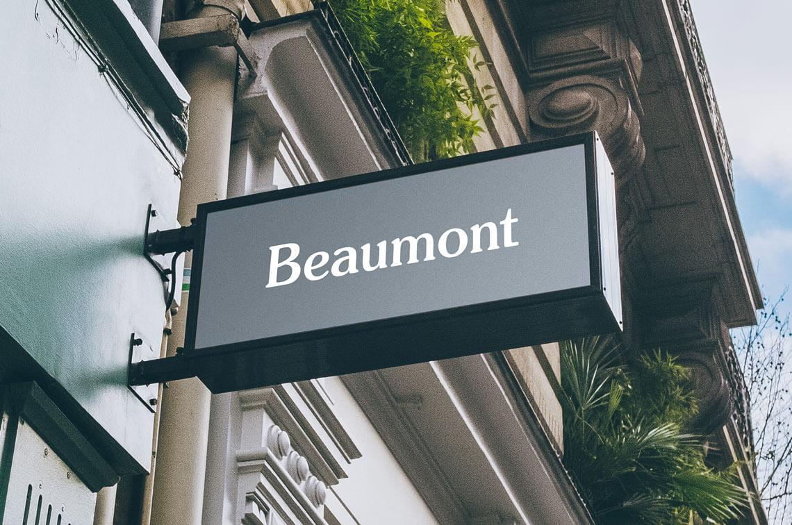 Beaumont bespoke logo design on sign