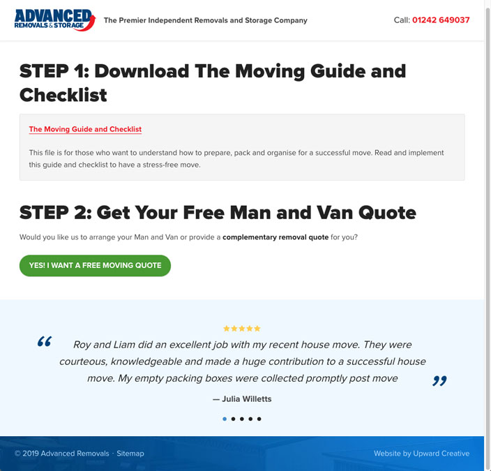 Advanced Removals website sales funnel download page