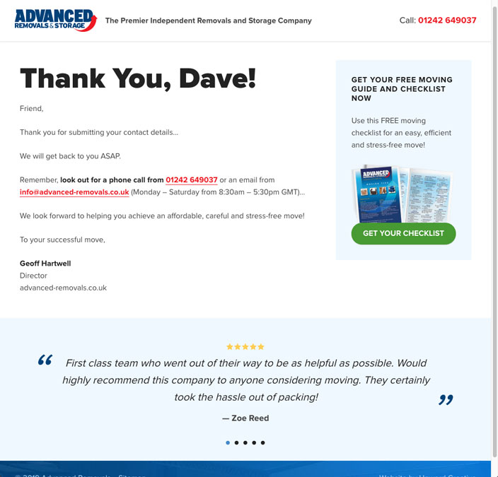 Advanced Removals website sales funnel offer success page