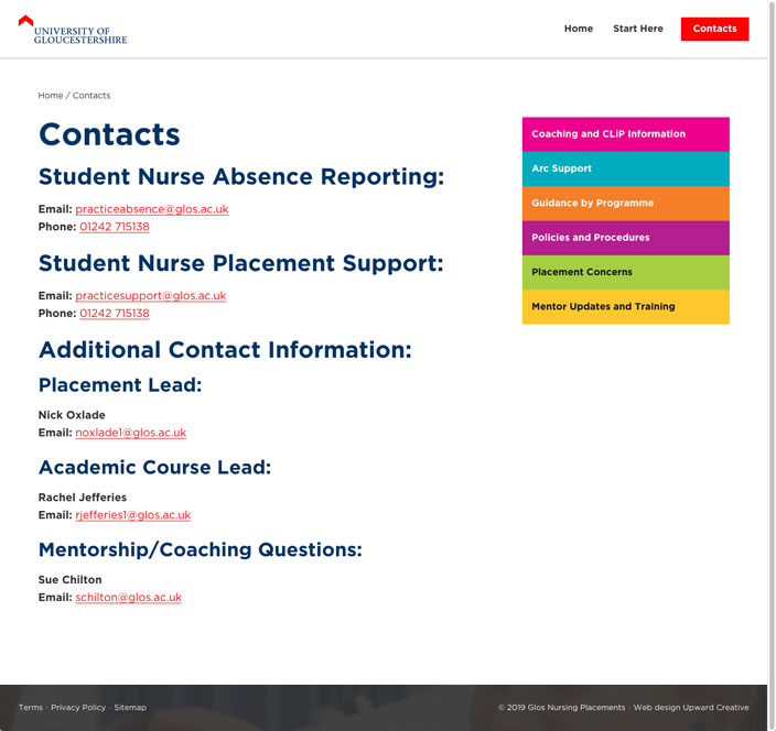 University of Gloucestershire web design contact page