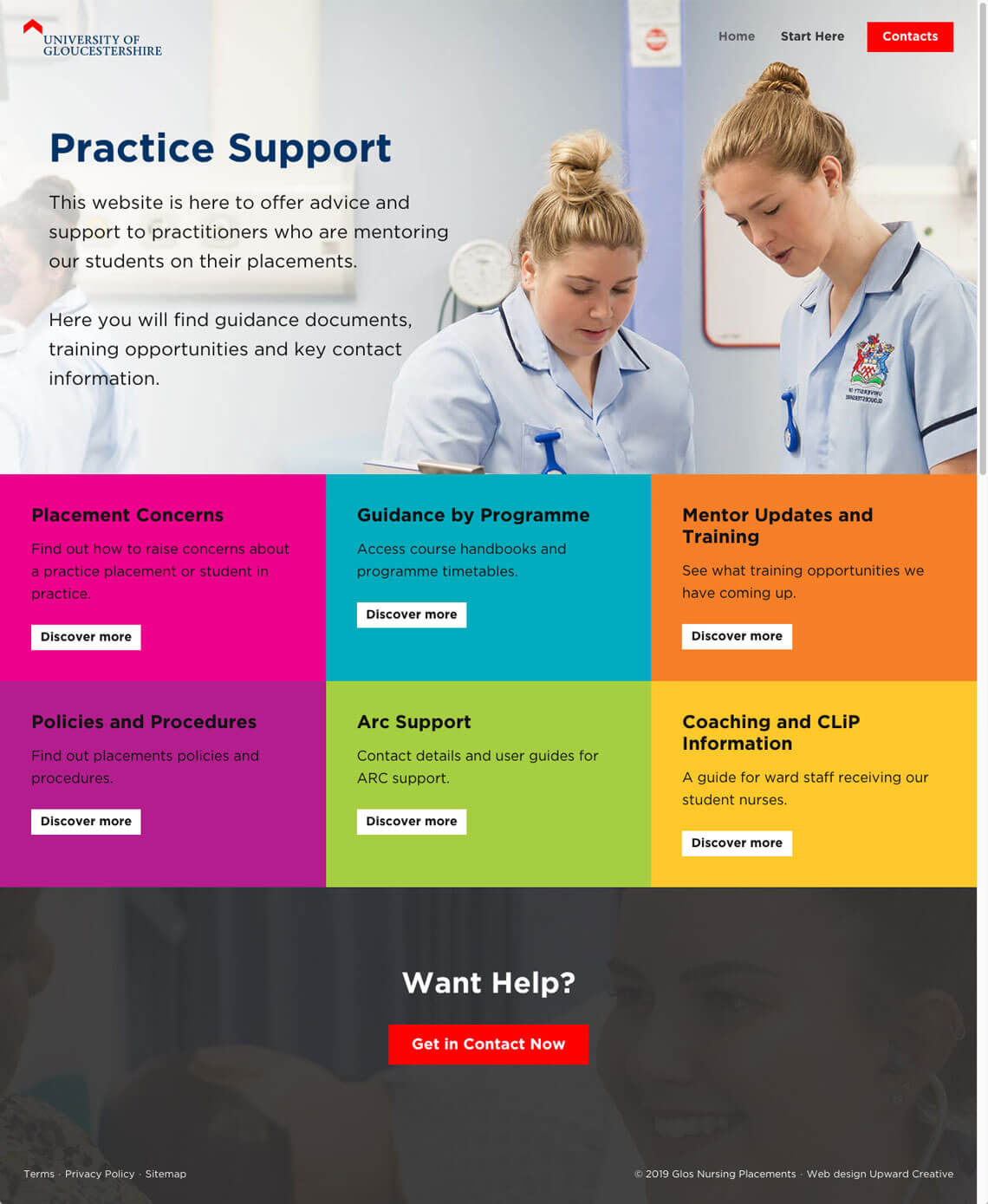 University of Gloucestershire website homepage page design