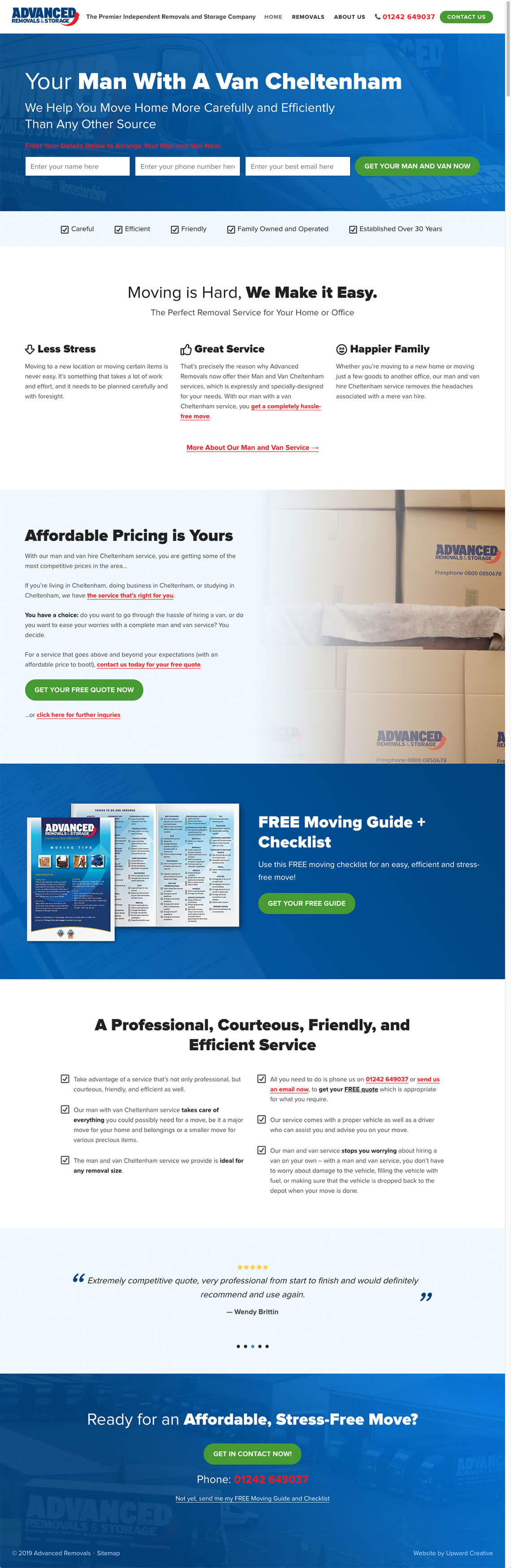 Advanced Removals website homepage design