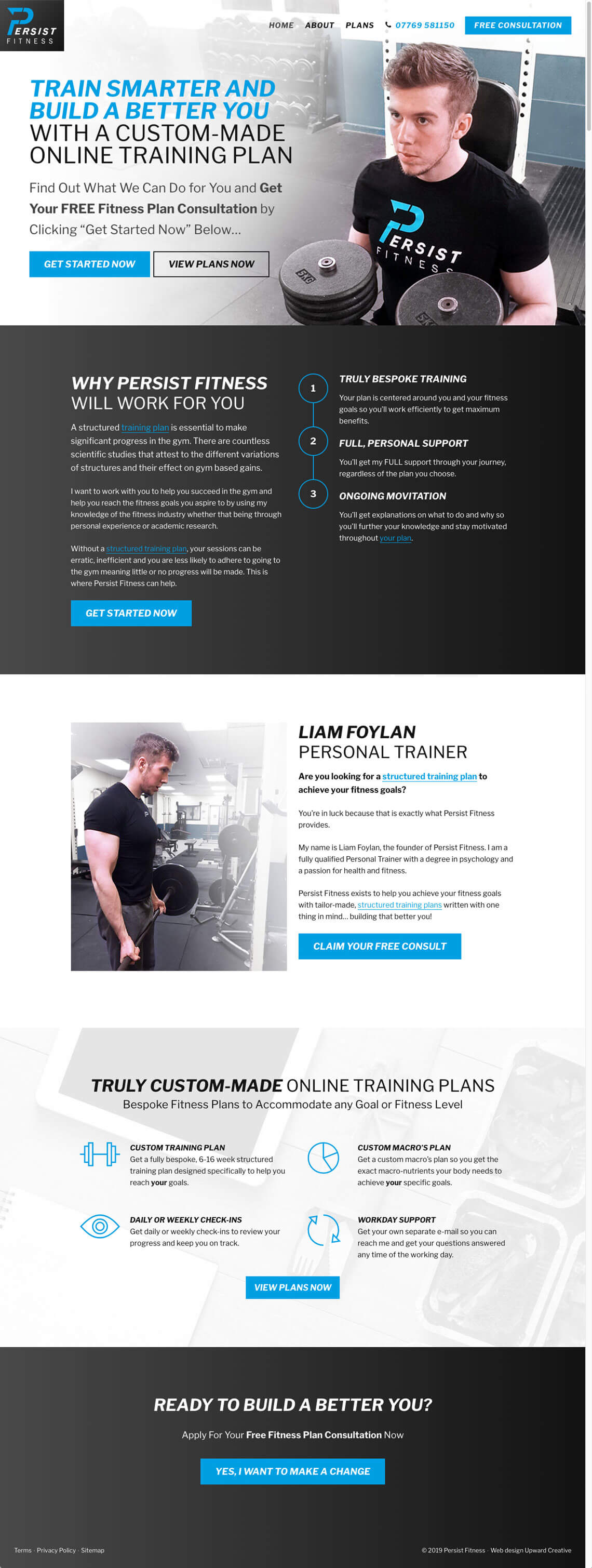 Persist Fitness website homepage design