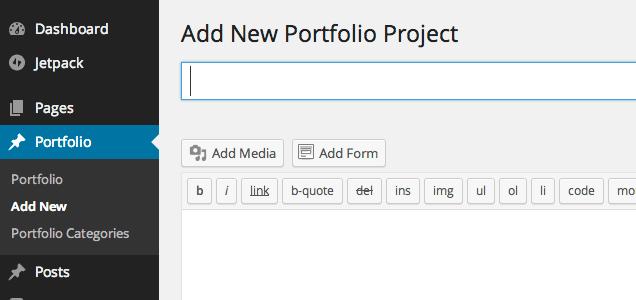 Adding a new portfolio project via WordPress